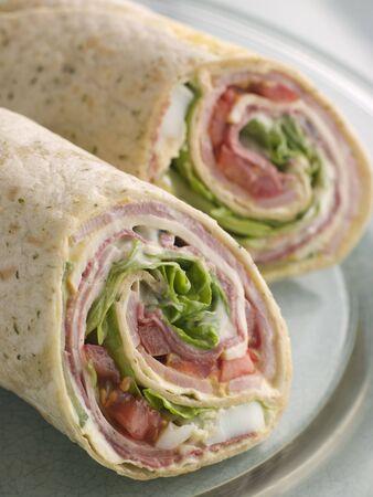 Deli Tortilla Wrap Cut in Half photo