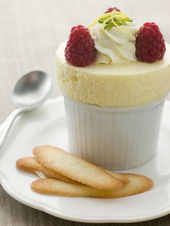 Chilled Lemon Souffle with Langue de Chat Biscuits Stock Photo - 3599864
