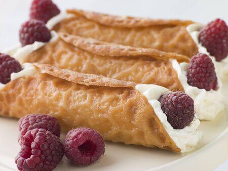 snaps: Cream Brandy Snaps with Raspberries
