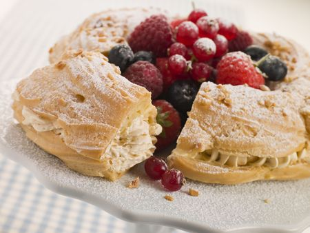 Paris Brest with Mixed Berries and Hazelnuts Stock Photo - 3600373