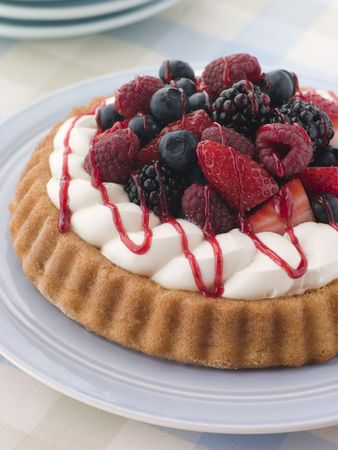 flan: Whipped Cream and Berry Sponge Flan Stock Photo