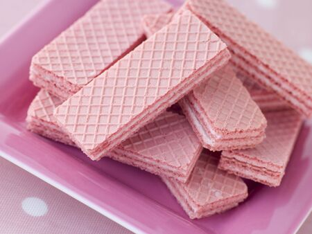 childrens meal: Pink Wafer Biscuits Stock Photo