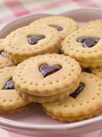 dodgers: Jam and Cream Heart Biscuits Stock Photo