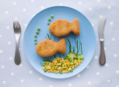 childrens meal: Fish Cakes with Vegetables Stock Photo