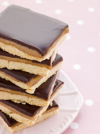 childrens meal: Chocolate Caramel Shortbread Stock Photo