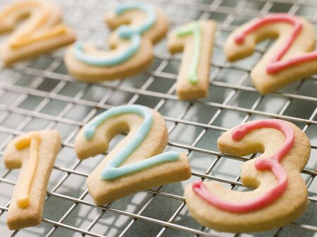 Number Shortbread Biscuits with Icing Stock Photo - 3600019