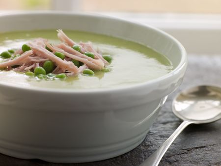 Bowl of Pea and Ham Soup photo