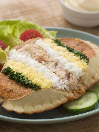 uk cuisine: Dressed Cromer Crab with Lemon Mayonnaise Stock Photo