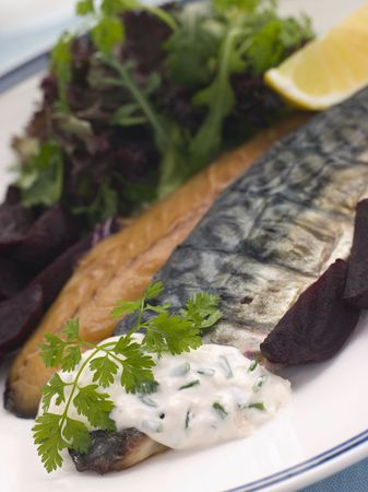 uk cuisine: Smoked Mackerel Beetroot Salad with Horseradish Cream