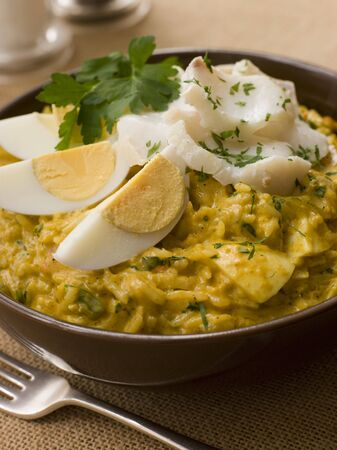 Bowl of Smoked Haddock Kedgeree Stock Photo - 3476880