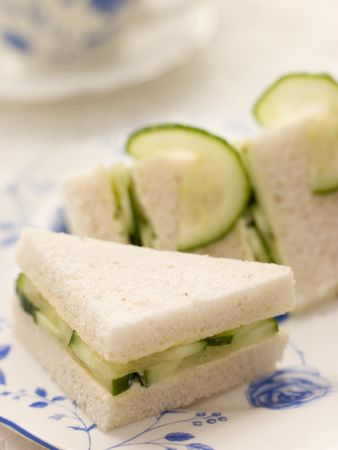 Cucumber Sandwich on White Bread with Afternoon tea Stock Photo - 3453088