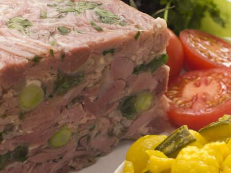 uk cuisine: Jellied Gammon and Leek Terrine with Piccalilli