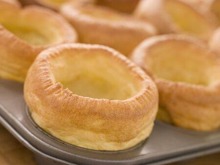 british cuisine: Tray of Yorkshire Puddings Stock Photo