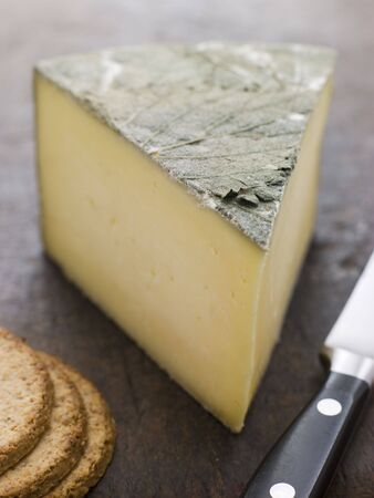 cornish: Wedge of Cornish Yarg Cheese with Oatmeal Biscuits Stock Photo