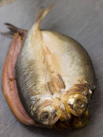 edible fish: Two Loch Fyne Kippers Stock Photo