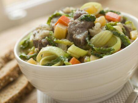 uk cuisine: Bowl of Irish Stew with Soda Bread