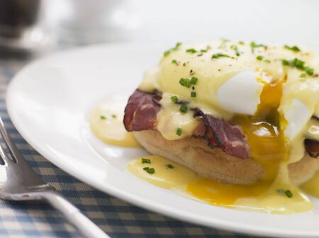 poached: Plate of Eggs Benedict Stock Photo