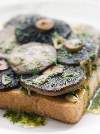 uk cuisine: Garlic Field Mushrooms on Toast with Parsley Butter