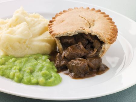 steak plate: Steak Pie and Mash with Mushy Peas