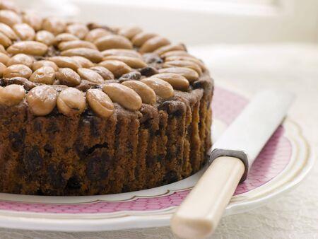fruitcake: Dundee Cake on a Plate