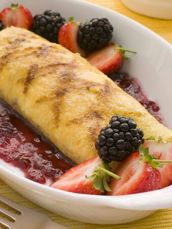 Jam Omelette with Berries photo