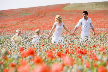Family walking in poppy field holding hands smiling Stock Photo - 3600410
