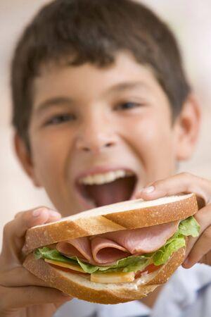 ham sandwich: Giovane ragazzo sorridente mangiare panino