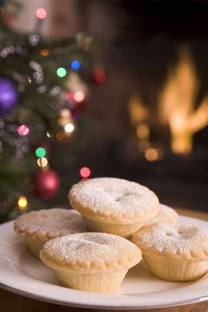 Plate of Mince Pies Log Fire and Christmas Tree Stock Photo - 3601299