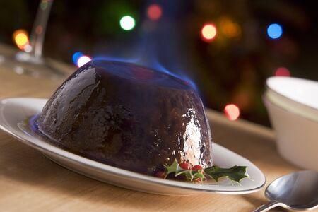 christmas pudding: Christmas Pudding with a Brandy Flambe