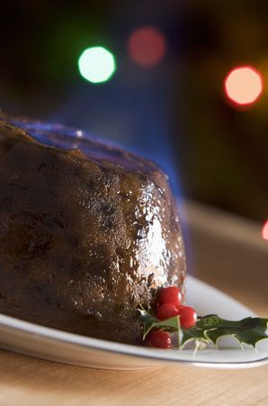 Christmas Pudding with a Brandy Flamb  photo