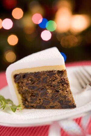 christmas cake: Wedge of Christmas Cake Stock Photo