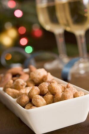 nibbles: Dish of Roasted Salted Peanuts