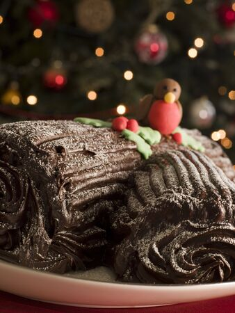 Chocolate Yule Log photo
