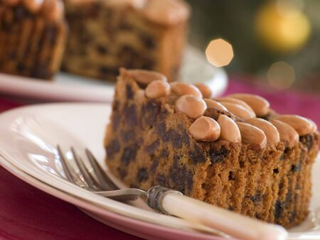 Wedge of Dundee Cake Stock Photo