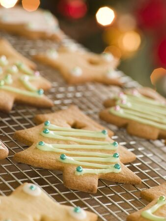 recipe decorated: Christmas Tree Biscuits Stock Photo