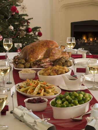 turkey bacon: Roast Turkey Christmas Dinner