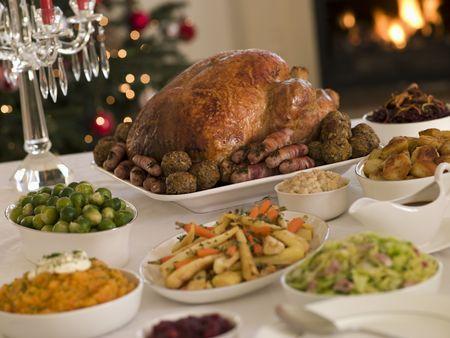 cena de navidad: Pavo Asado de Navidad con todas las Poda