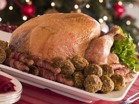 Traditional Roast Turkey with Trimmings Stock Photo - 3726350