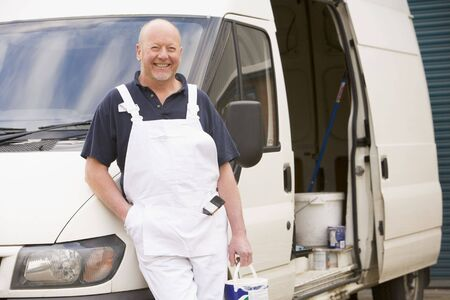 Painter standing with van smiling Stock Photo - 3601252