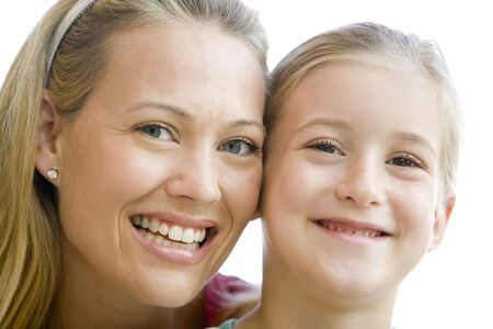 Woman and young girl smiling Stock Photo - 3602864