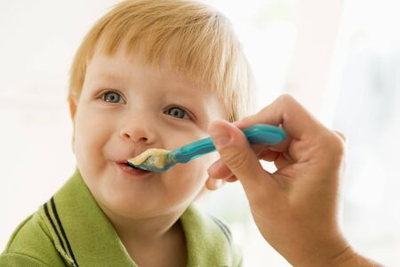 24 month old: Mother feeding young boy  food Stock Photo