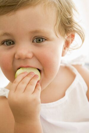 24 month old:  indoors eating apple Stock Photo