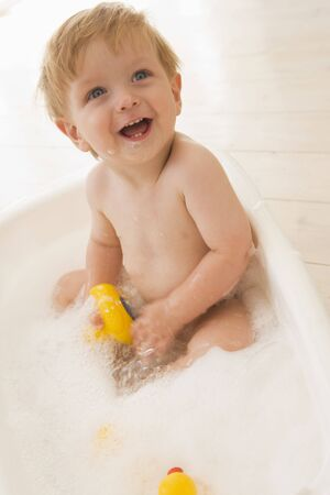 24 month old: Baby in bubble bath