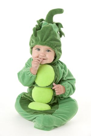 peas in a pod: Baby in peas in pod costume Stock Photo