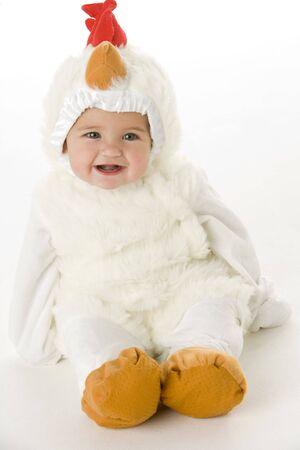 Baby in chicken costume photo