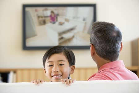 Man and young boy in living room with flat screen television smiling photo