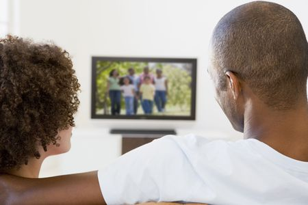 tv watching: Couple in living room watching television