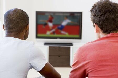 room mate: Two men in living room watching television