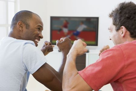 Two men in living room watching television and cheering photo