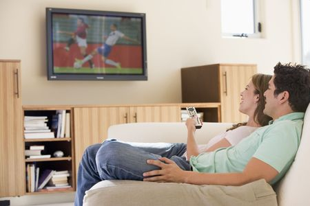 comfy: Couple in living room watching television